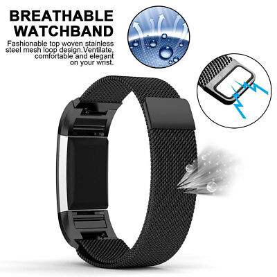 Milanese Stainless Steel Magnetic Loop Wrist Band Strap for Fitbit Charge 2 US