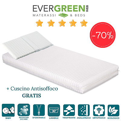 Materasso Lettino Bambino Waterfoam ORTOPEDICO + Cuscino ANTISOFFOCO GRATIS!