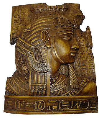 "Egypt Cleopatra Statue Wall Hanging Handmade 10"" Plaque Decor Ancient Pharaoh"