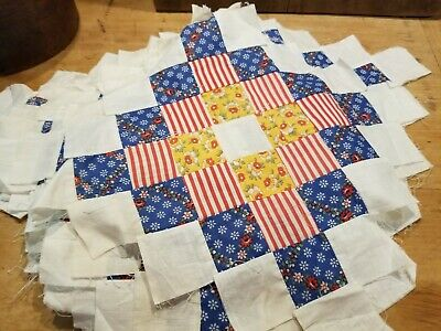 Vintage Primitive Country Set Of Old Large Quilt Squares- Lot Of 14 Early 1900'S