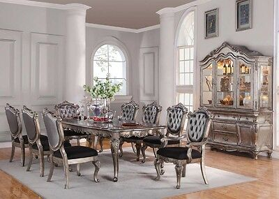 Acme Furniture Chantelle 9 Piece Dining Table Set Antique Silver 60540