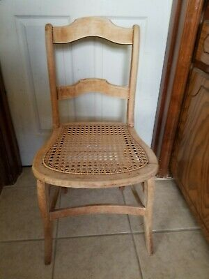 Vintage Oak Wood Cane Seat Dining Sitting Chair