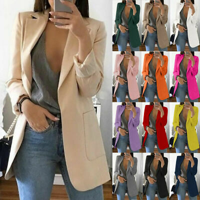 15 Colors Plus Size Women Slim Casual Blazer Jacket Top Outwear Career Long Coat