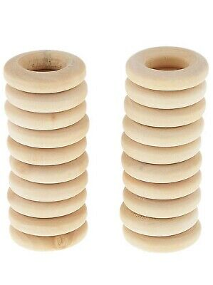 20Pcs Natural Wooden Baby Teething Ring Unfinished Wood Jewellery Craft UK Stock