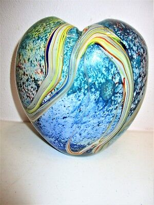 Hand Blown Vase Heart Murano Style Large Multi Color Layers Swirl Rainbow