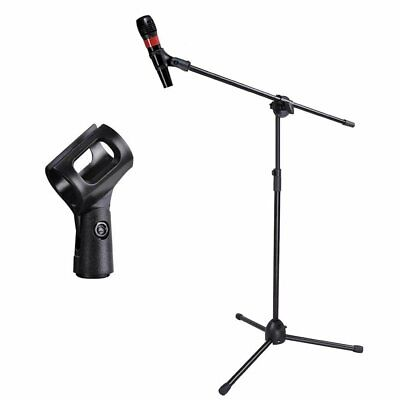 Telescoping Boom Microphone Stand Mic Clip 90-degree Stage Studio Holder Tripod