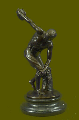 "Signed: Myron Bronze Sculpture Nude Man Throwing Disk Statue""THE DISCUS THROWER"""