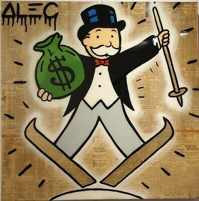Alec monopoly Handcraft Oil Painting on Canvas,Monopoly Skiing,24×24IN
