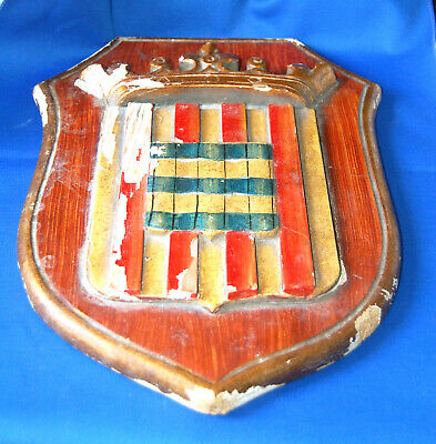 An unusual medieval heraldic shield shaped hand painted plaque, theatrical ?