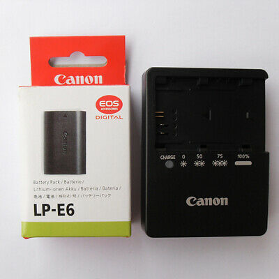 Original Canon LP-E6 Battery + LC-E6E Charger  EOS 5D 6D 7D 60D 60Da Mark II III