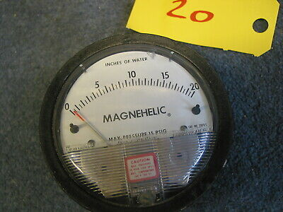 "Magnehelic Differential Pressure Gauge 0-20"" Moving Steampunk Guage"