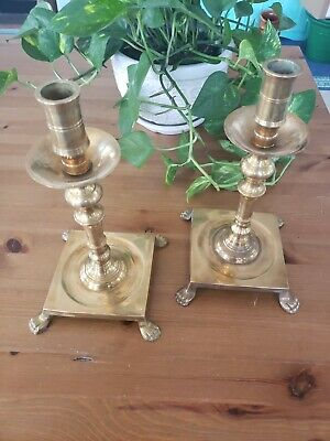 Vintage Solid Brass Candlestick Holders Claw Foot Ornate