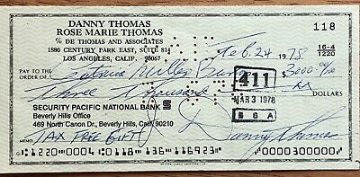 Danny Thomas Autographed Personal Check (Document Signed)
