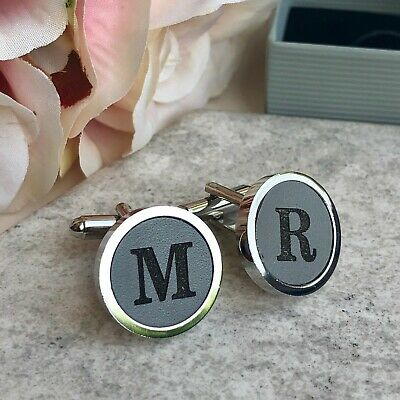 Personalised Initials Cufflinks Dove Grey Leather 3rd Anniversary Wedding Gift