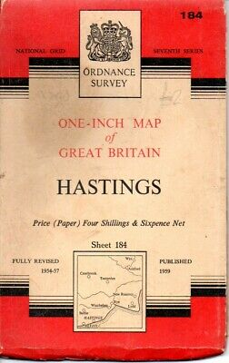 Ordnance Survey One-inch Seventh Series 1959 OS map Sheet 184 Hastings