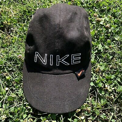 908209c166fe99 Vintage 90's Nike 4 Panel Strapback Hat Black/White/Red Spell Out Dad Cap