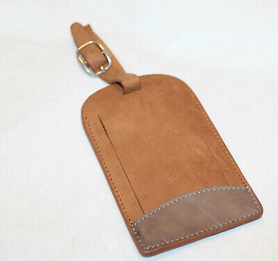 Leather LUGGAGE TAG Brown | Bag Tags Suitcase Identifiers Travel Tags 1 pcs