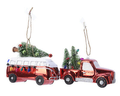 2 x Assorted Red Truck & Camper Van Hanging Christmas Tree Decorations
