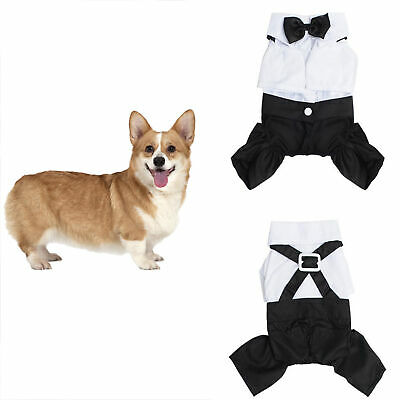 Fashion Dog Pet Puppy Clothes Tuxedo Shirt Suit Bow Tie Stylish Wedding Apparel
