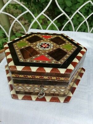 Vintage Inlaid Hexagonal Parquetry Wooden Jewellery Box Mirror Lockable With Key