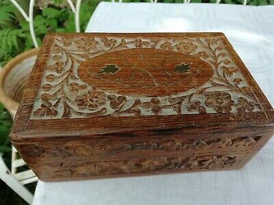 Vintage Carved Teak Wooden Box With Brass Inlay Flower Decoration