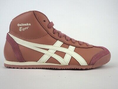 Girls Onitsuka Tiger Mexico Mid Runner HL328 2400 Casual Rose Lace Up Trainers