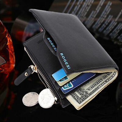 Men's Faux Leather ID credit Card holder Clutch Bifold Coin Purse Wallet Pocket