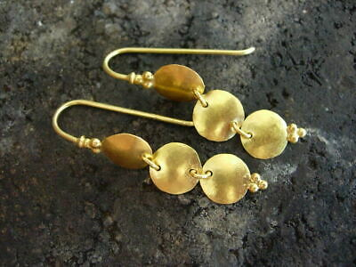 24K Pure Gold, Hand Made Hammered Earring