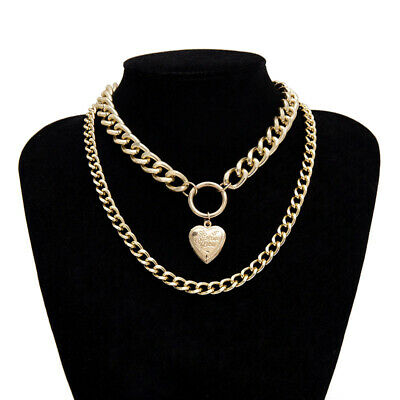 Women Lady Chunky Necklace Love Heart-shaped Double Layer Collar Choker Chain UK
