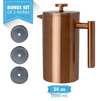 MIRA Stainless Steel Double Walled Tea & Coffee French Press 34 oz, Copper