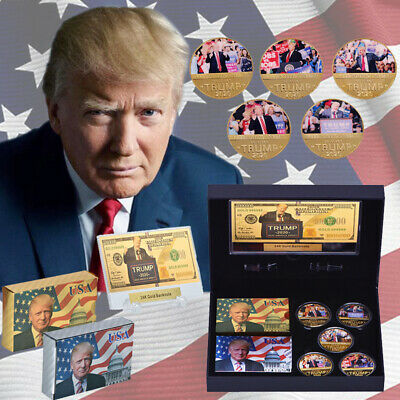 WR Donald Trump 2020 Gold Coin Bnaknote Poker Keep America Great Gift Box Set