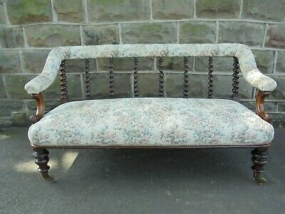 Antique English Upholstered Rosewood Sofa Couch Settee
