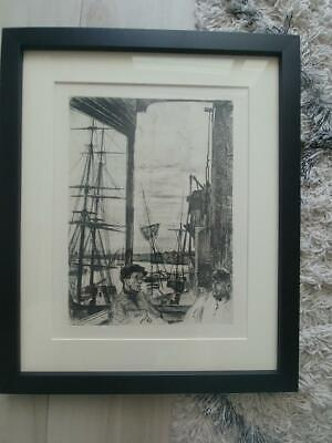 "James A.M. Whistler ""Rotherhithe"" Dry Point Etching Plate 1860 Framed American"