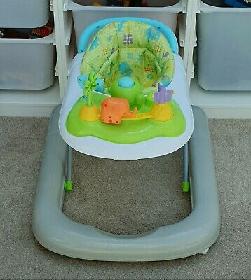 Babies R Us Safari Jungle Baby Walker Toy Tray Adjustable Height Excellent Cond
