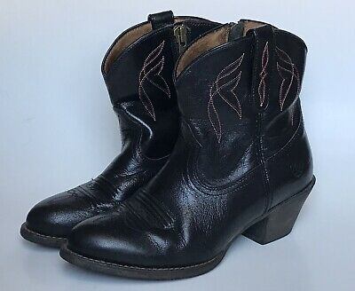 17893a17ad48 Ariat Darlin Black Leather Ankle Boots Western Cowboy Booties Size 5.5