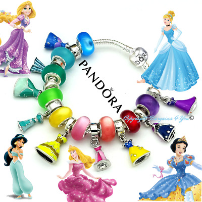 Authentic Pandora Bracelet Disney Silver Princess Dresses with European Charms