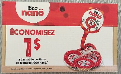 Lot of 20 x 1.00$ Cheese Portions IOGO nano Products Coupons Canada