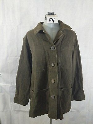 DKNY Classic Womans Button Up Olive Green Shirt 100% Cotton Large Thick F4