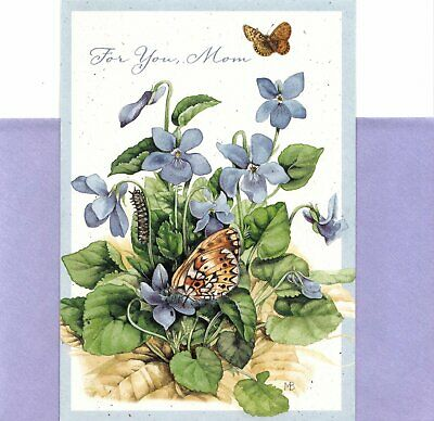 Happy Birthday Mom Purple Flowers & Butterflies Marjolein Bastin Hallmark Card