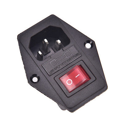 NEW 3 Pin AC Inlet Male Plug Power Socket With Fuse Switch 10A 250V 3Pin 9 LN