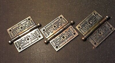 Log  OF 3 ANTIQUE Corbin EASTLAKE  DOOR HINGES