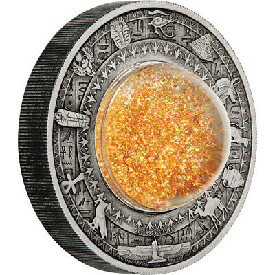 2019 Golden Treasures Of Ancient Egypt 2oz Silver Antiqued Coin