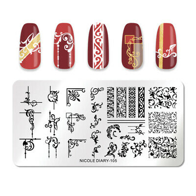 NICOLE DIARY Stamping Plate Rectangle Mixed Patterns Nail Image Stencils 105