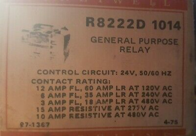 r8222d 1014 dpdt relay honeywell 24 v general purpose relay - nos