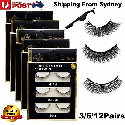 12 Pairs 3D Natural Long Thick Makeup Eyelashes Cross False Eye Lashes Real Mink