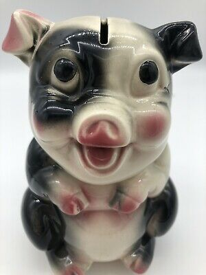 Vintage Standing Ceramic Pig Piggy Bank Pink white Black