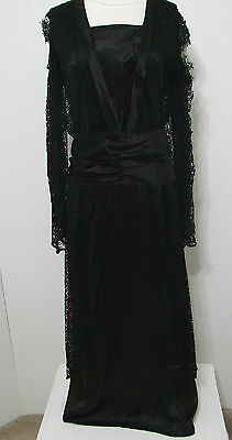 VINTAGE EDWARDIAN Gown Black Silk Lace Overlay Baby Snap Close Studio Stamped L