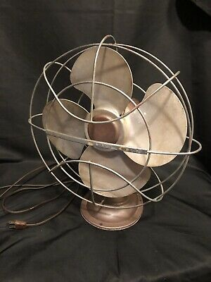 Vintage Stainless Steel Oscillating Fan 50's Pink