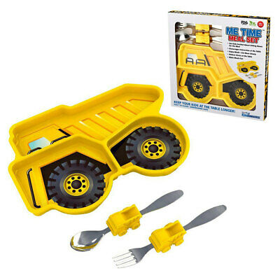 Kids Funwares Me Time Meal Set Spoon/Plate/Fork Baby/Kids 18m+ Dump Truck Yellow