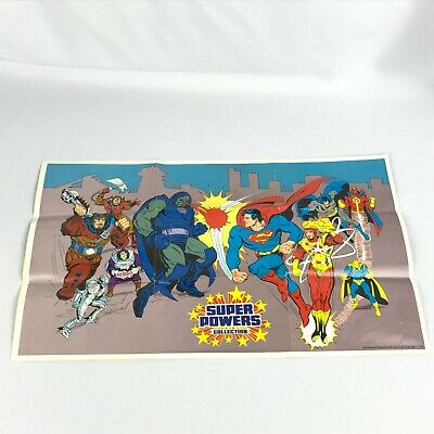 Vintage 1985 Dc Kenner Super Powers Poster Great Condition Fast Free Shipping!